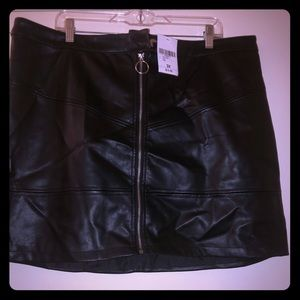 Black pleather lol mini skirt